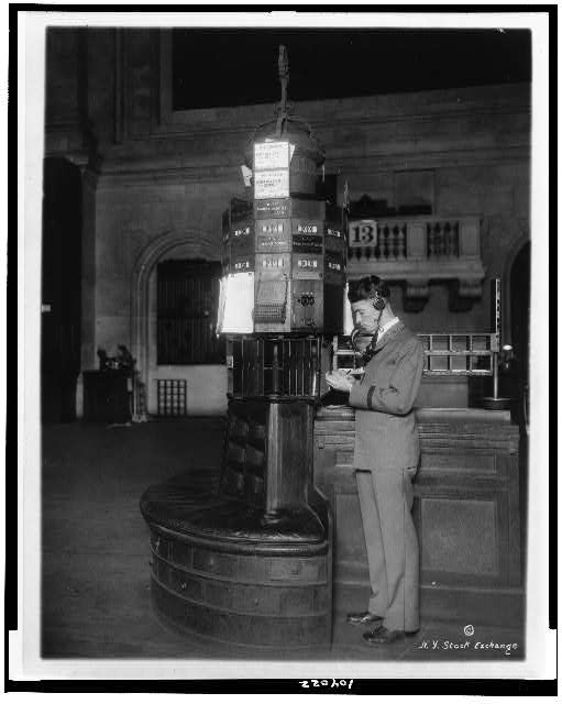 [Telephone operator at post, new quotation system, New York Stock Exchange]