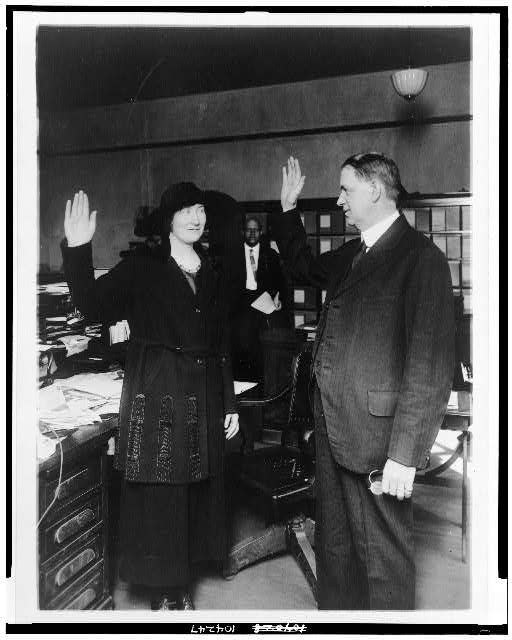 Training a policewoman. The newest recruit to the District of Columbia's little band of sleuths (f[emale]) is solemnly sworn into her office by Edwin Hesse, chief clerk of the police department