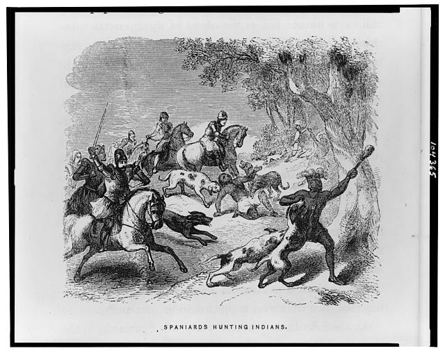 Spaniards hunting Indians
