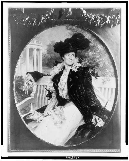 [Edith Kermit Carow Roosevelt, three-quarter length portrait, seated on bench, facing right]