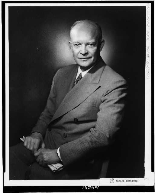 [Dwight D. Eisenhower, three-quarter length portrait, seated, facing front]