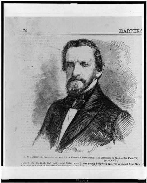 D.F. Jamieson, President of the South Carolina Convention, and Minister of War
