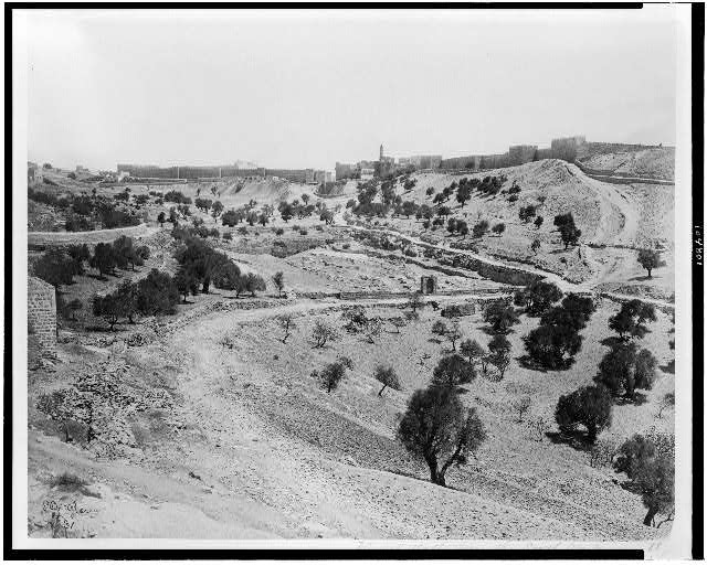 [View of Jerusalem walls from the southwest. Valley of Hinnora and lower pool of Gihon]