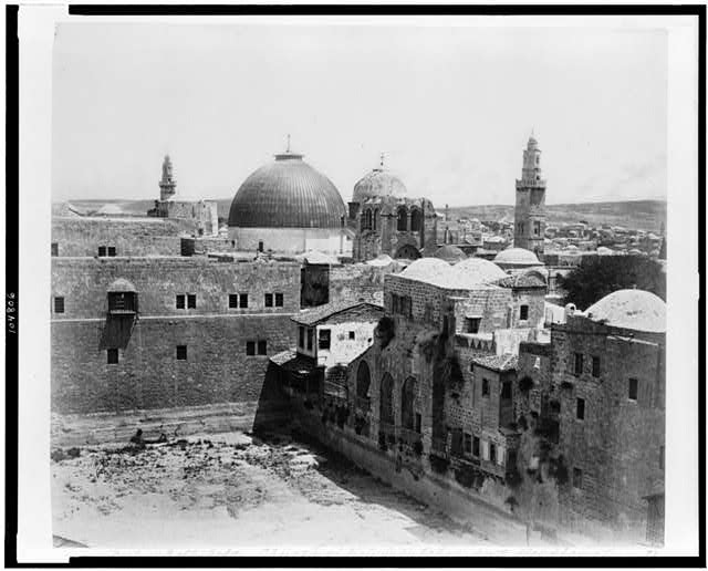 [Pool of Hezekiah, Church of the Holy Sepulchre, and Hospice of the Knights of St. John, from Mediterranean Hotel]