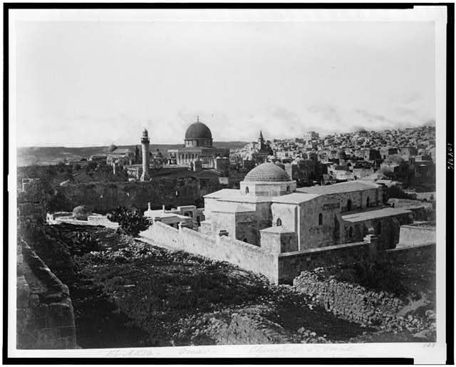 [General view of the Haram or Moriah. El Aksa - Omar - Church of St. Anne]