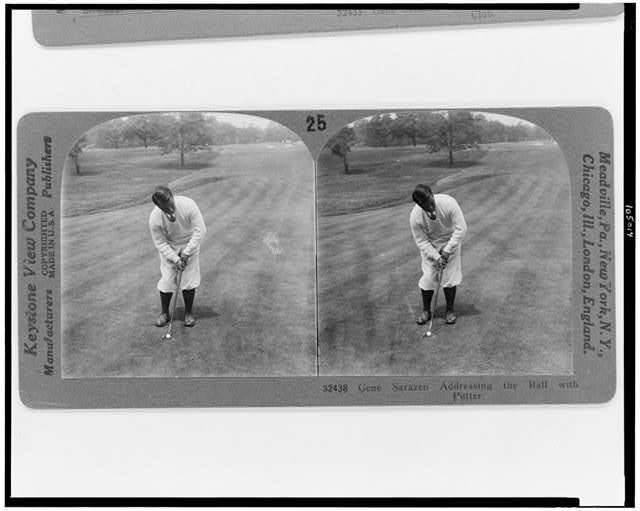 Gene Sarazen addressing the ball with putter