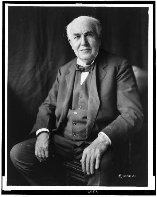 [Thomas Alva Edison, three-quarter length portrait, seated, facing front]