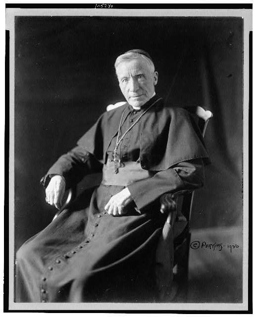 [Cardinal James Gibbons, three-quarter length portrait, seated, facing left]