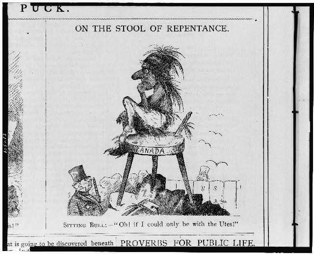 "On the stool of repentance. Sitting Bull:--""Oh! if I could only be with the Utes!"""