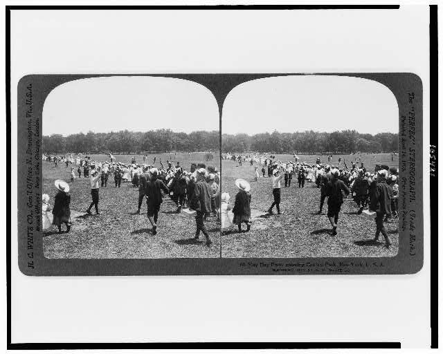 May Day party entering Central Park, New York, U.S.A.