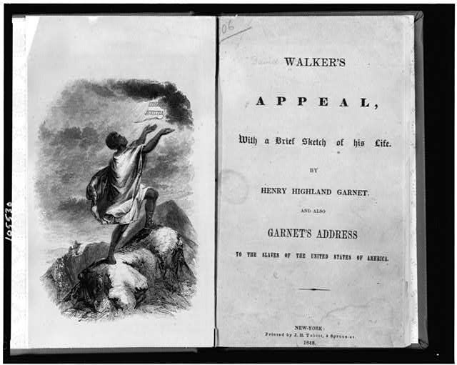 "[Title page and frontispiece showing slave on top of mountain, with his hands raised to paper labelled ""libertas justitia"" which appears in sky]"