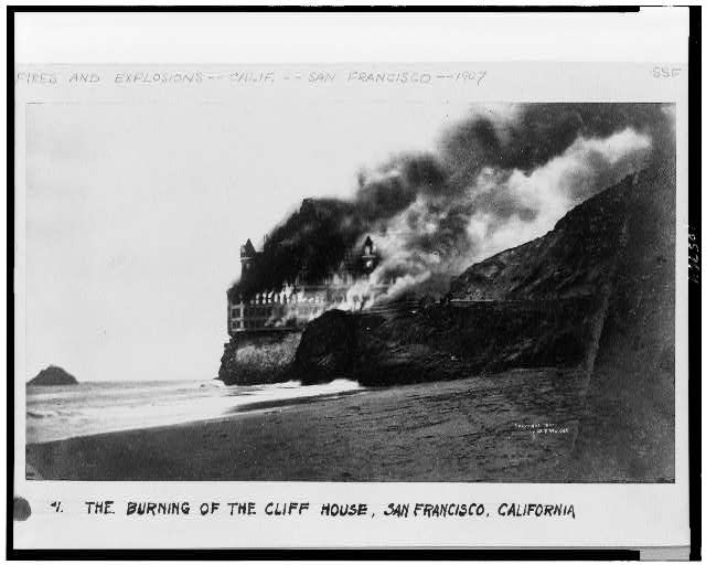 The Burning of the Cliff House, San Francisco, California