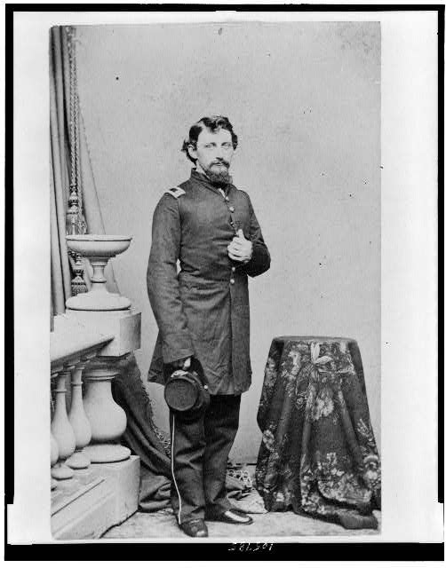 [Caleb H. Carlton full-length portrait, standing, facing slightly right, in 1861]