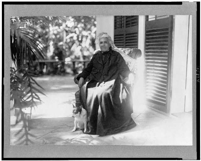 [Liliuokalani, Queen of Hawaii, full-length portrait, seated, outdoors, with dog, facing slightly left]