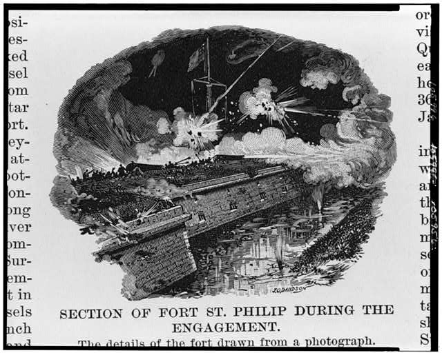 The Opening of the lower Mississippi and the capture of New Orleans. Section of Fort St. Philip during the engagement