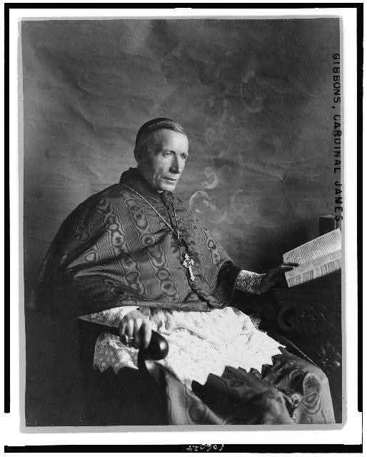 [Cardinal James Gibbons, three-quarter length portrait, seated, facing right]