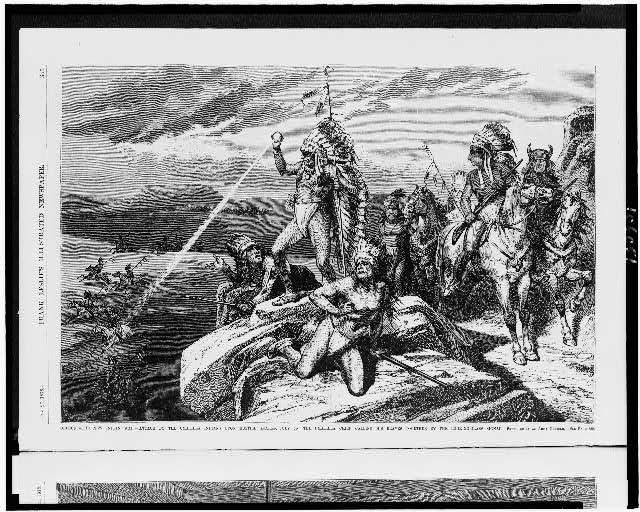 Oregon. - The new Indian war - attack by the Umatilla Indians upon hostile snakes, July 2d - the Umatilla chief calling his braves together by the looking-glass signal