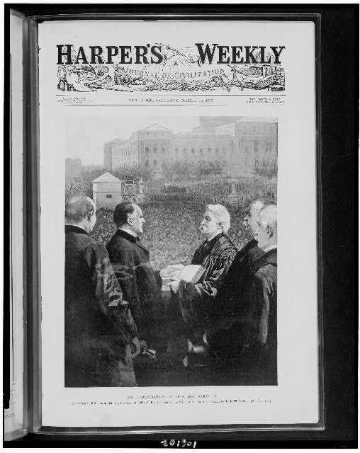 The Inauguration of President McKinley. Chief Justice Fuller administering the oath of office in front of the senate wing of the Capitol