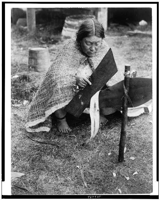 [Preparing cedar bark--Nakoaktok]