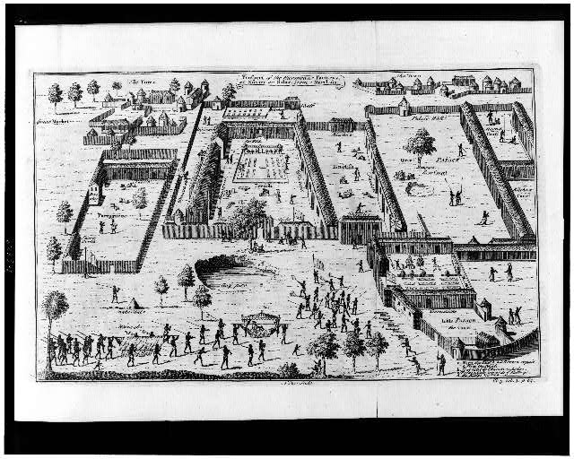 [Slave factories, or compounds, maintained by traders from four European nations on the Gulf of Guinea in what is now Nigeria]
