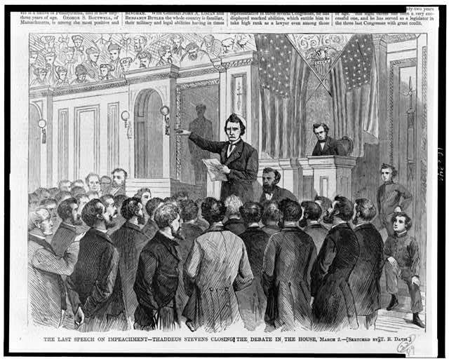 The Last speech on impeachment--Thaddeus Stevens closing the debate in the House, March 2