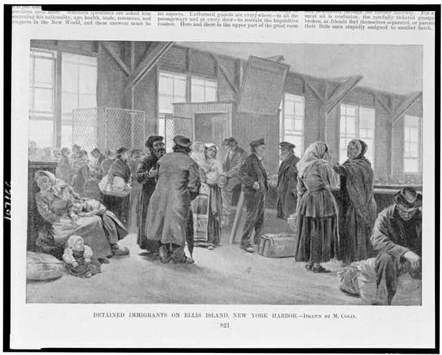 Detained immigrants on Ellis Island, New York harbor