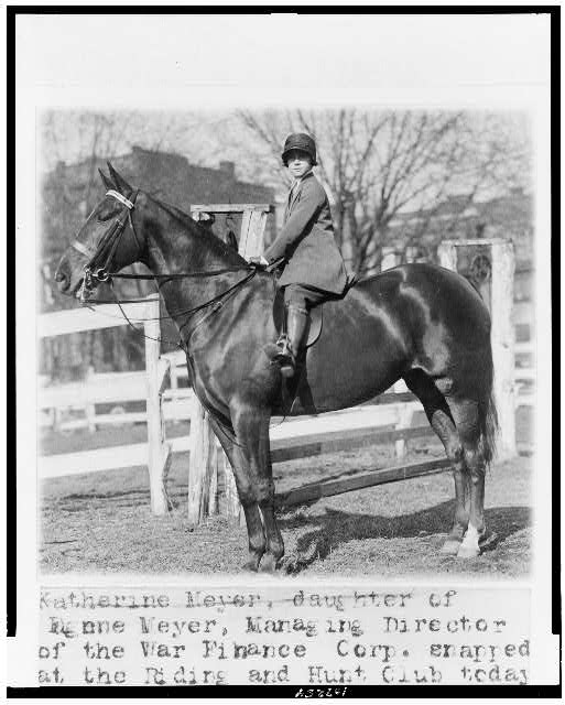 "Katharine Meyer, daughter of Eugene Meyer, managing director of the War Finance Corp., snapped at the Riding and Hunt Club today on ""Seewandda"" an entry in the coming National Capital Horse Show"