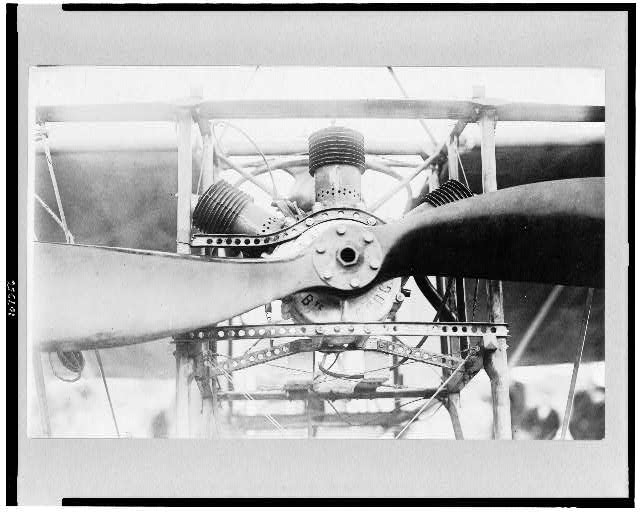 [Front of Louis Blériot's airplane, showing engine and part of propeller]