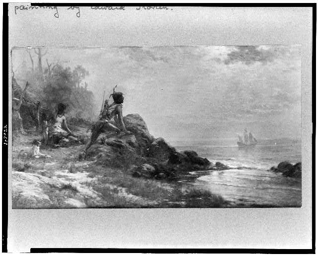[Sir Henry Hudson entering New York Bay, September 11, 1609, with Indian family watching on shore in foreground]