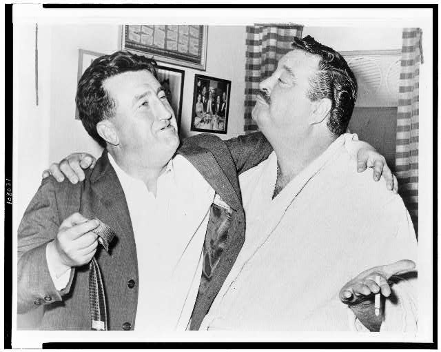 "[Brendan Behan with Jackie Gleason in Gleason's dressing room at show ""Take me along""]"