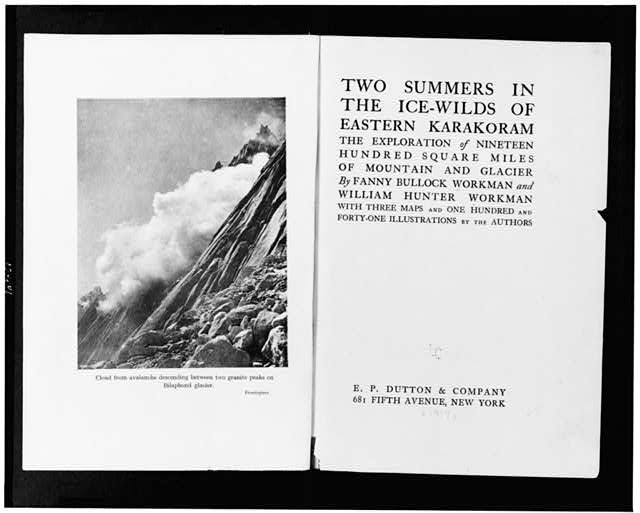 [Title page of Two summers in the ice-wilds of eastern Karakoram; and frontispiece showing Cloud from avalanche descending between two granite peaks on Bilaphond glacier]