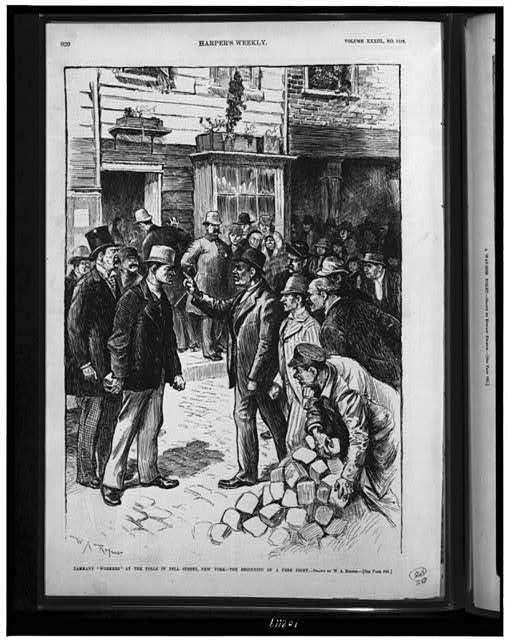 "Tammany ""workers"" at the polls in Pell Street, New York - the beginning of a free fight"