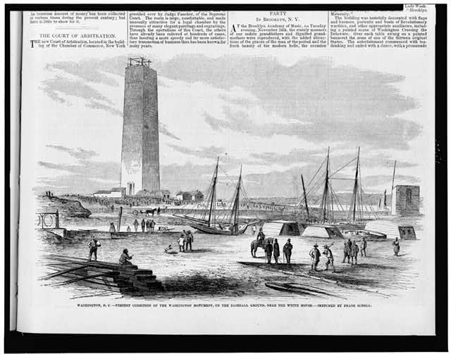Washington, D.C. - present condition of the Washington Monument, on the baseball ground, near the White House