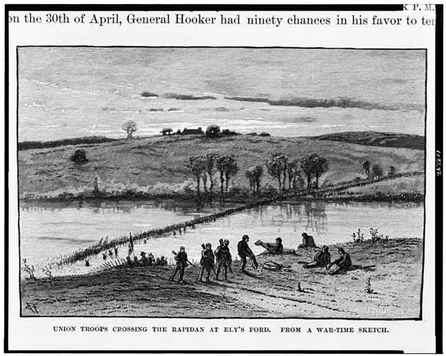 Union troops crossing the Rapidan at Ely's Ford