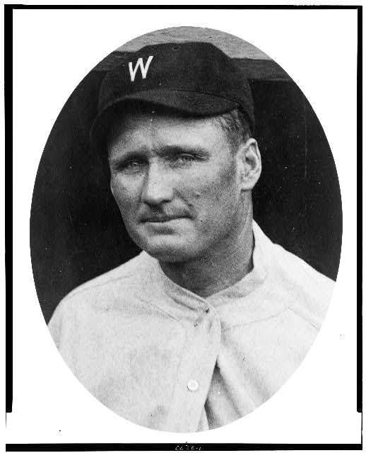 [Walter Johnson, head-and-shoulders portrait, facing left, in oval]