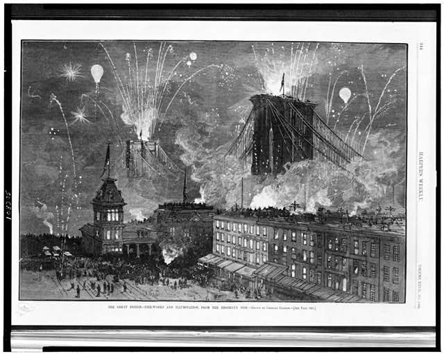 The Great bridge - Fire-works and illumination, from the Brooklyn side