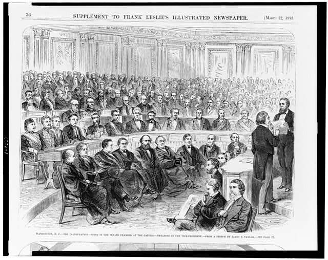 Washington, D.C.--the inauguration--scene in the Senate chamber at the Capitol--swearing in the vice-president