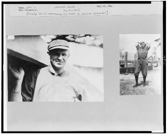 [Two photographs of Otto C. Hess, Boston NL, one a half-length portrait, standing, facing front and the other a full-length portrait, standing, facing slightly right, with hands behind head]