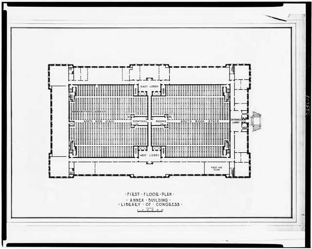 "[Library of Congress (""Annex Building""), Washington, D.C. First floor plan]"