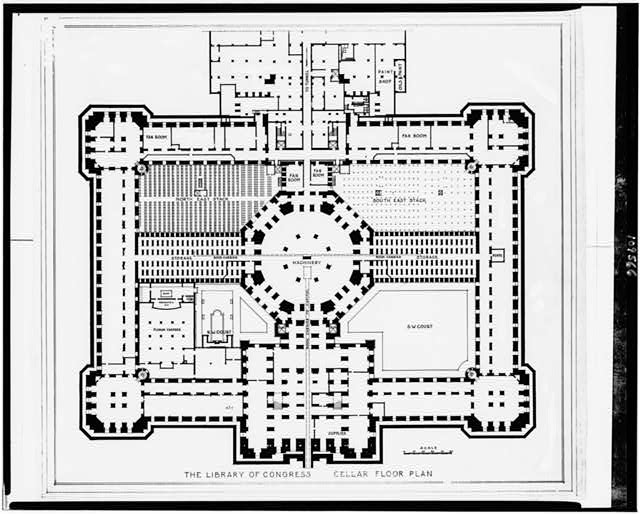 [Alterations to the Library of Congress Thomas Jefferson Building, Washington, D.C. Cellar floor plan]