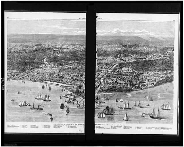 Bird's-eye view of Chicago as it was before the great fire