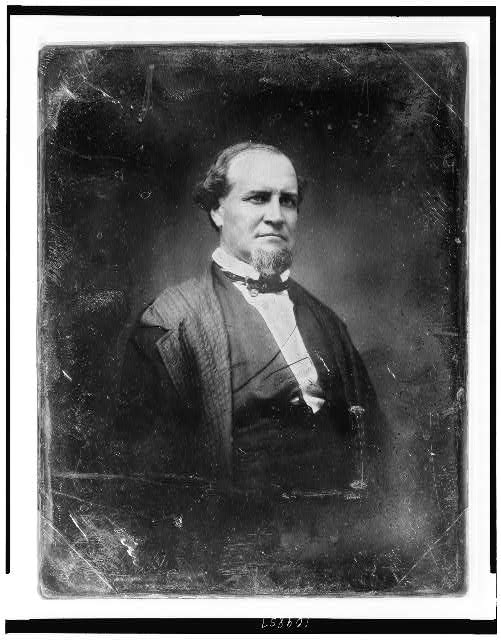 [Unidentified man, about 45 years of age, half-length portrait, facing three-quarters to the right, with chin whiskers]