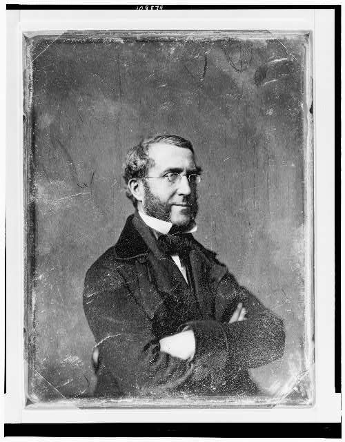 [William Frederick Havemeyer, half-length portrait, three-quarters to right, arms crossed, with side whiskers, wearing spectacles]