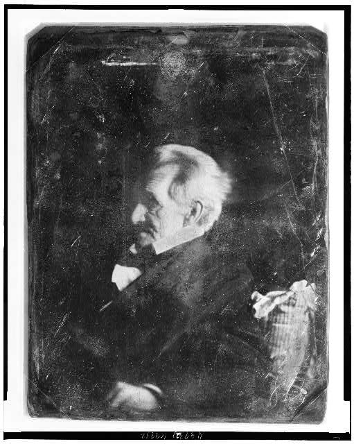 [Andrew Jackson, head-and-shoulders portrait, nearly in profile to left, leaning against pillow of which ticking appears in lower left corner]