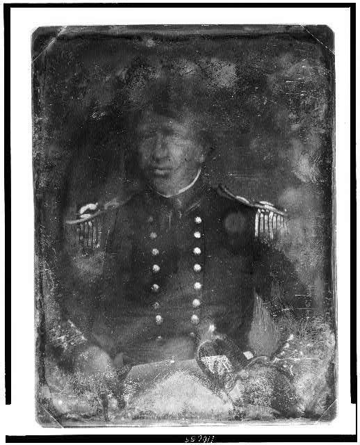 [James Bankhead, half-length portrait, facing front, in military uniform, with sword]