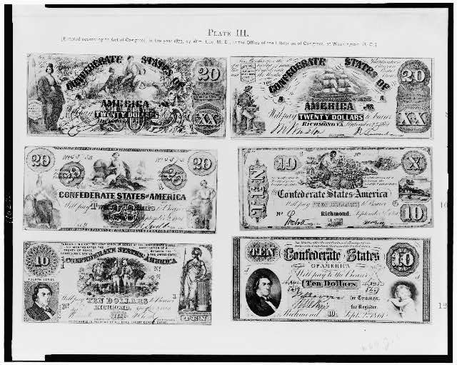 [Photographs of six pieces of Confederate paper currency]