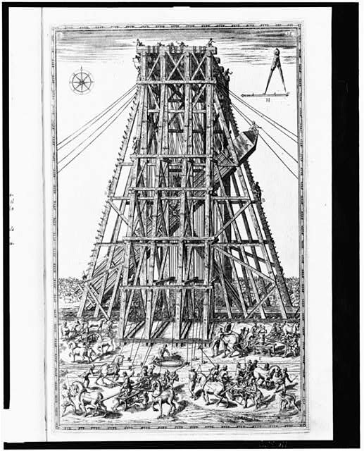 [Scaffolding used for support when lowering obelisk at the Circus Nero prior to its relocation to the Piazza of Saint Peter in Rome]