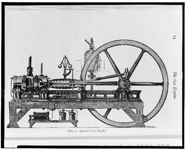 [A three-horsepower internal combustion engine that ran on coal gas]