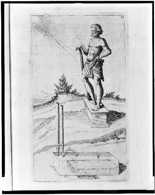 [Garden monument when heated by the sun brings water to a boil generating steam which causes sound to issue from pipes like an organ; shows statue, possibly of Hero of Alexandria]