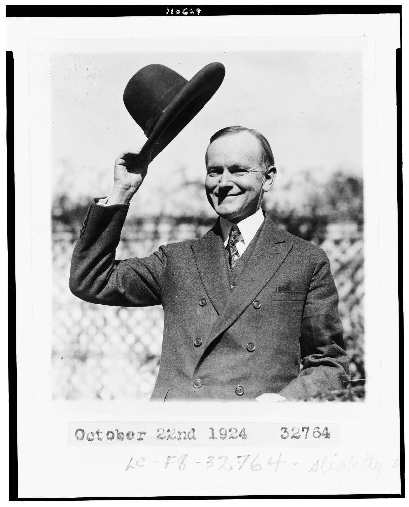 President Calvin Coolidge and a 10-gallon hat.  Library of Congress image
